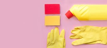 Cleaning tools. cleaning equipment in yellow and red colors.Top view with copy space stock photography