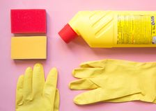 Cleaning tools. cleaning equipment in yellow and red colors.Top view with copy space stock image