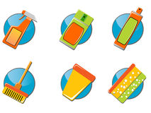 Cleaning tools icon set Stock Image