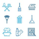 Cleaning Tools Icons in Flat Color Style Royalty Free Stock Photo