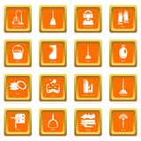 Cleaning tools icons set orange square vector Stock Photos