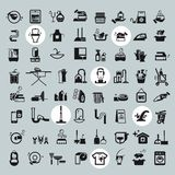 Cleaning Tools icons. vector black cleaning icons Royalty Free Stock Images