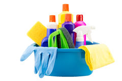 Free Cleaning Tools In Bucket On White Background Stock Photos - 56181983