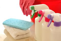 Cleaning Tools. Liquid detergent, sponge, dust cloth, rubber gloves and bucket Stock Images