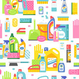 Cleaning tools pattern vector. Royalty Free Stock Photography