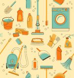 Cleaning tools seamless background Stock Image