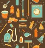 Cleaning tools seamless background Stock Images