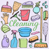 Cleaning tools set. Hand-drawn cartoon collection of house cleaning stuff - bucket, sponge, mop, gloves, spray, brush Stock Image