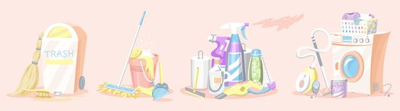 Cleaning tools Set. House icons. Washing machine, Detergents for apartments, Water bucket for Mopping, Chemicals vector illustration