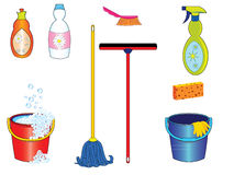Cleaning tools royalty free illustration