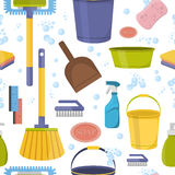 Cleaning tools sweamless pattern . Royalty Free Stock Images