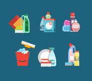 Cleaning tools vector set. Detergents for cleaning home or hotel Royalty Free Stock Photos