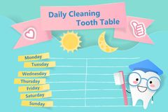Daily cleaning tooth table Royalty Free Stock Images