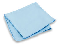 Cleaning towel. A blue microfiber cleaning towel, over white background Stock Photography
