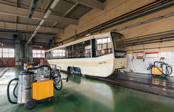 Cleaning of the tram. Tram inside the depot. Royalty Free Stock Photo
