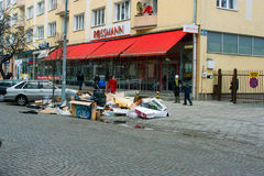 Cleaning unnecessary items in Gdynia. Stock Image