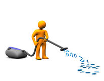 Cleaning up data. A person cleaning or vacuuming up data and numbers Stock Photos