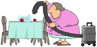 Cleaning Up After Dinner. This illustration depicts a woman cleaning off the dinner table with a shopvac Stock Images
