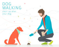 Cleaning up after dog Royalty Free Stock Photography