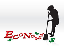 Cleaning Up The Economy. A woman cleaning up the bad economy by sweeping up the letters and dollar signs with her broom Royalty Free Stock Image