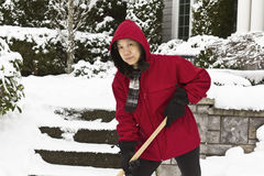 Cleaning Up after the Snow Strom Stock Photography
