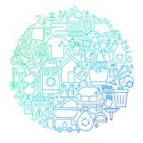Cleaning usługa linii ikony okręgu projekt Fotografia Stock