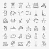 Cleaning usługa linii ikony Ustawiać Zdjęcia Royalty Free