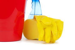 Cleaning utensils closeup Royalty Free Stock Images