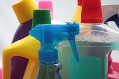 Cleaning utilities. Bottles with detergent to clear every possible cleaning job Stock Photo