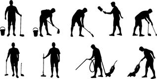 Cleaning and vacuuming silhouettes Stock Photos