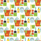Cleaning vector service design home household work brush seamless pattern background illustration. Stock Photography