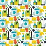 Cleaning vector service design home household work brush seamless pattern background illustration. stock illustration