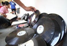 Cleaning vinyl record Stock Images
