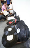 Cleaning vinyl record Stock Image