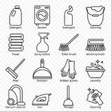 Cleaning, wash line icons. Washing machine, sponge, mop, iron, vacuum cleaner, shovel and other clining icon. Order in the house t. Cleaning, wash line icons stock illustration