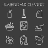 Cleaning, wash line icons. Washing machine, sponge, mop, iron, vacuum cleaner, shovel and other clining icon. Order in the house t. Clean, wash line icons Royalty Free Stock Photography