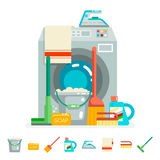 Cleaning washing concept supplies icons  flat design vector illustration Royalty Free Stock Images