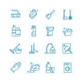 Cleaning and washing house outline vector icons. Antiseptic service line symbols Royalty Free Stock Photos