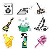 Cleaning and washing icons Royalty Free Stock Images