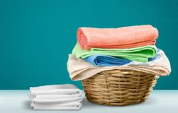Cleaning. Washing Laundromat Clean Linen Basket Laundry Basket Royalty Free Stock Image