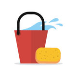 Cleaning Web Banner. Bucket with Water and Sponge. Cleaning service web banner. Bucket with water and sponge icon. Sign symbols of clean in the house. House stock illustration