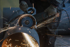 Cleaning Welding on the big Pipe Stock Photo