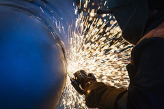 Cleaning Welding on the big Pipe Stock Images