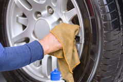 Cleaning wheel car wash Stock Image