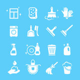Cleaning white Icons Vector set  Royalty Free Stock Photo