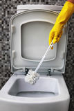 Cleaning of white toilet bowl Stock Photos