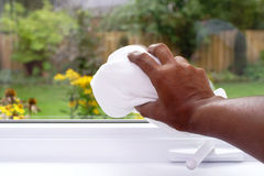 Cleaning window Stock Image