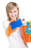 Cleaning the window Royalty Free Stock Photography