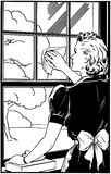 Cleaning Window夫人 库存照片