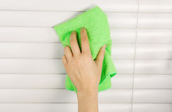 Cleaning Window Blinds Royalty Free Stock Photos